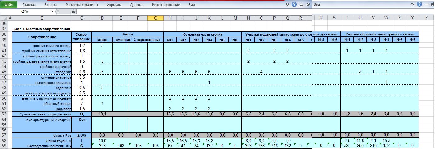 таблица эксель для гидравлического расчета
